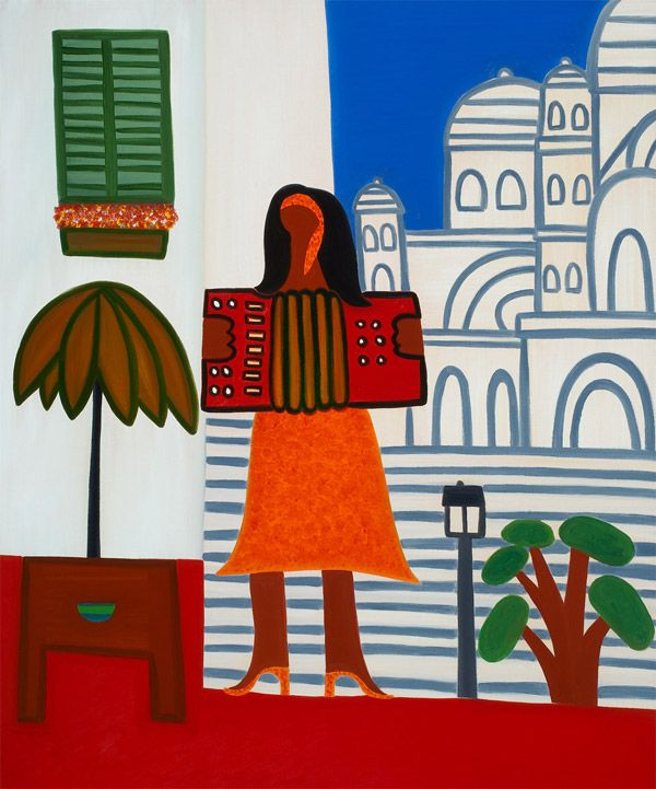 The Gypsy Girl in Front of Sacre Coeur, 2006. Oil on linen, 91 x 76 cm. Exhibition: Imaginary Landscapes. Private collection. #painting #oilpainting #finearts #contemporaryart #cristinarodriguez