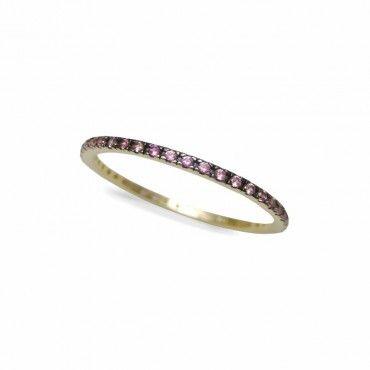 Μοντέρνο γυναικείο ολόβερο λεπτό δαχτυλίδι από χρυσό Κ14 σειρέ με ροζ πέτρες ζίργκον σε όλο το μήκος | Δαχτυλίδια ΤΣΑΛΔΑΡΗΣ στο Χαλάνδρι #σειρέ #ζιργκον #χρυσο #δαχτυλίδι #rings