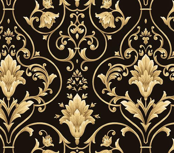 Gold black and gold damask black and gold damask for Black white damask wallpaper mural