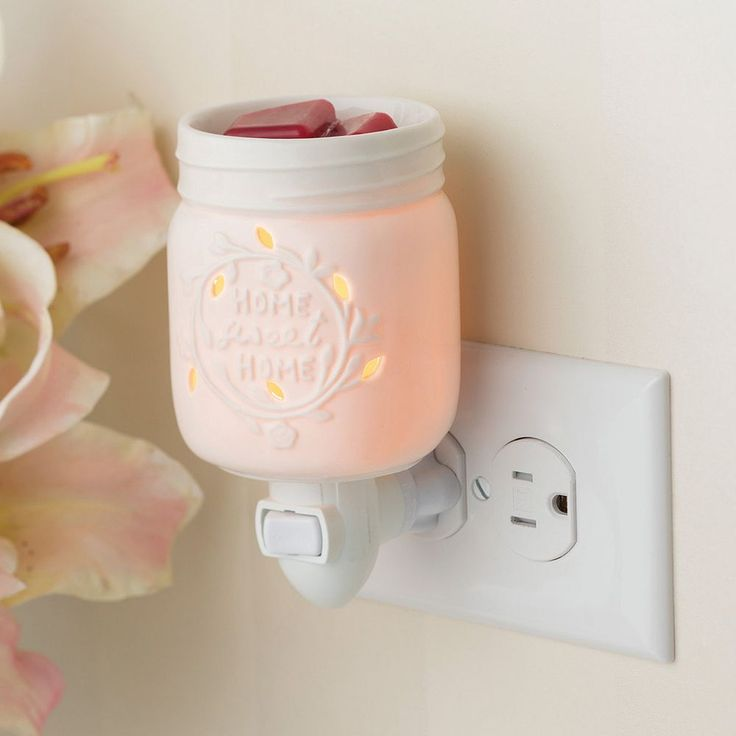 Candle Warmers Etc. Mason Jar Outlet Wax Melt Warmer, White