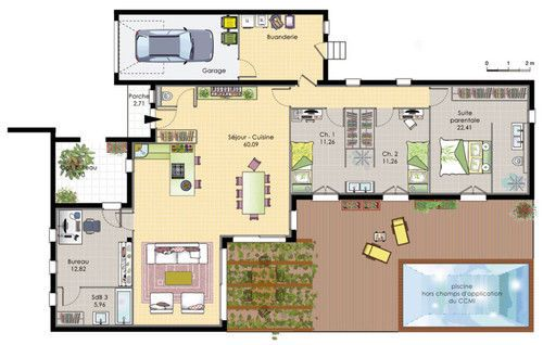 Découvrez les plans de cette maison de plain-pied 6 sur www.construiresamaison.com >>>