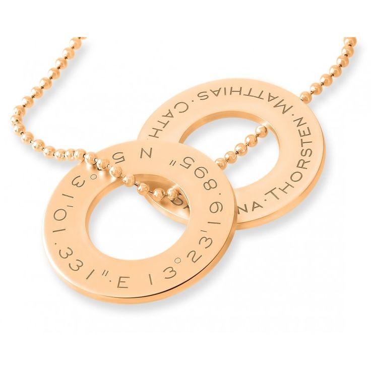 Ein wunderschöne extra dicke massive 925 Sterling Silber Anhänger-Ringe designed mit Ihren Wunschkoordinaten, Wunschnamen, Wunschdaten oder Ihrem Wunschtext. Das komplette Schmuckstück wird in Juwelierqualität hochwertig rosé vergoldet.
