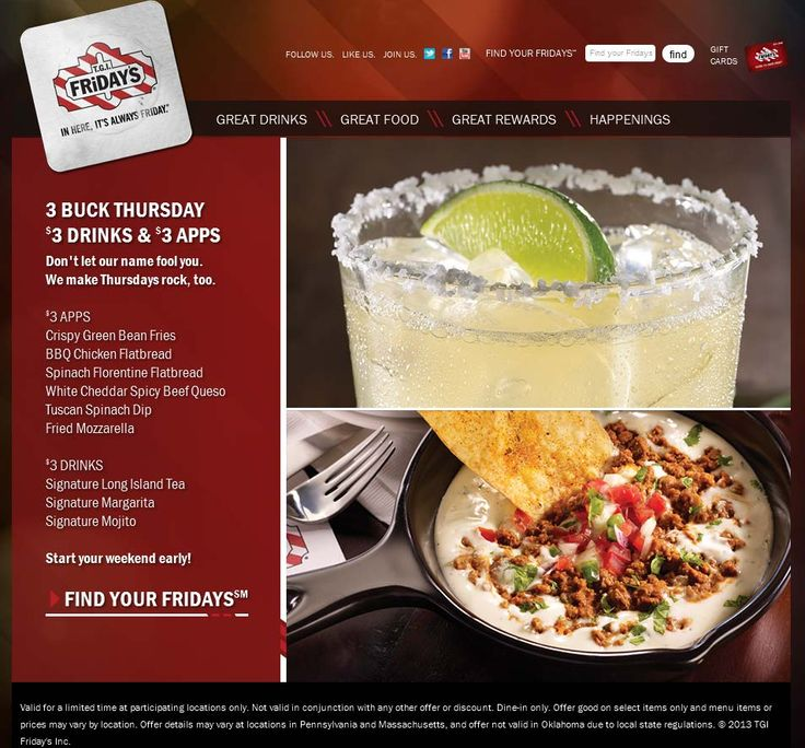 Pinned August 1st: $3 buck Thursday on various drinks & appetizers at TGI Fridays coupon via The Coupons App