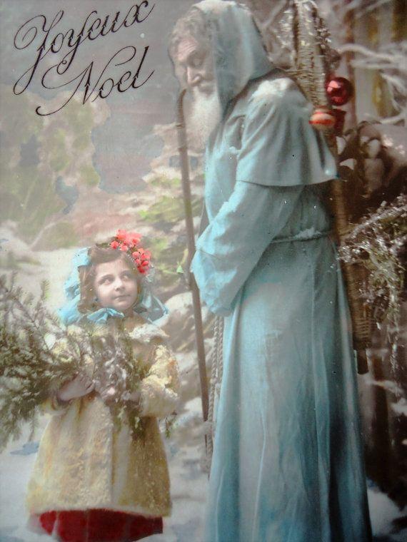 Antieke kerst briefkaart  Santa Claus Kerstman door LizKnijnenburg