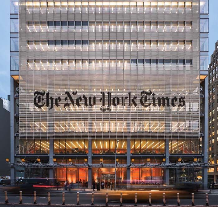Renzo Piano - The New York Times Building | New York, U.S.A, 2000/2007 - The tower was designed by Renzo Piano Building Workshop and FXFOWLE Architects, with Gensler providing interior design. The lighting design for the building's nighttime identity was designed by the Office for Visual Interaction Inc.