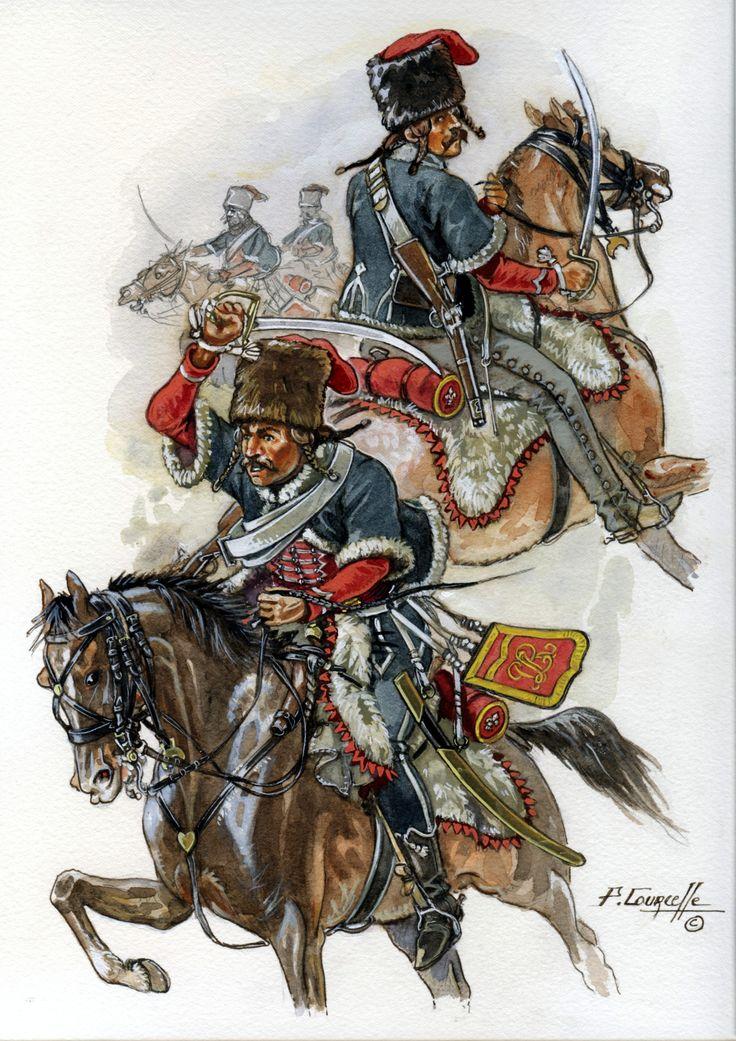 Hussards talpaches de Rohan (1795-1796). Planche de Patrice COURCELLE, membre de La Sabretache, pour La Sabretache. Rohan's Talpach Hussars (French émigrés). Plate by Patrice COURCELLE, a member of La Sabretache, for La Sabretache. http://www.patricecourcelle.com