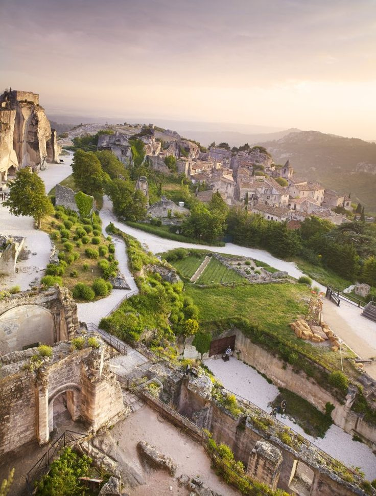 A view of Les-Baux-de-Provence, in the southern Alpilles, from the ruined hilltop Château des Baux, Les Baux de Provence, France
