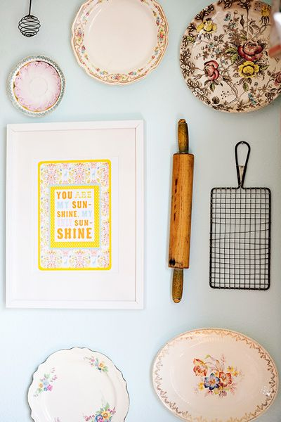 So much to love about this wallscape, but I esp. love that sunshine print. My grandma used to sing me that song.