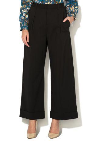 Pantaloni cu talie inalta evazati eleganti negri cu buzunare