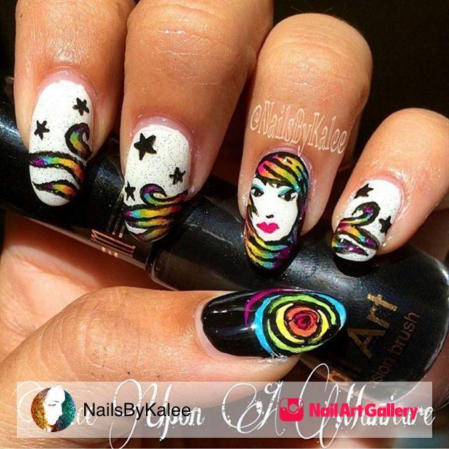 Robin Moses Inspired Rainbow Girl by NailsByKalee via Nail Art Gallery #nailartgallery #nailart #nails #mixedmedia #stars #girl #rainbownails #robinmosesinspired #handpainted #rose