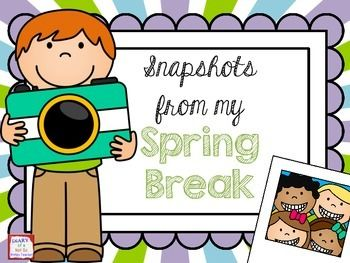 This is a simple and fun way for students to share what they did on their spring break. Students will make a camera shaped book and draw pictures of things they did on break. They can add captions and share with the class.