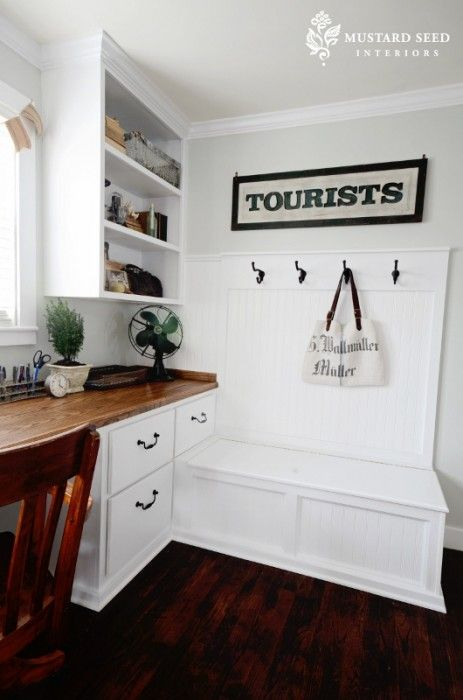 Home Without A Foyer : Built in bench hooks for quot mudroom home office nice