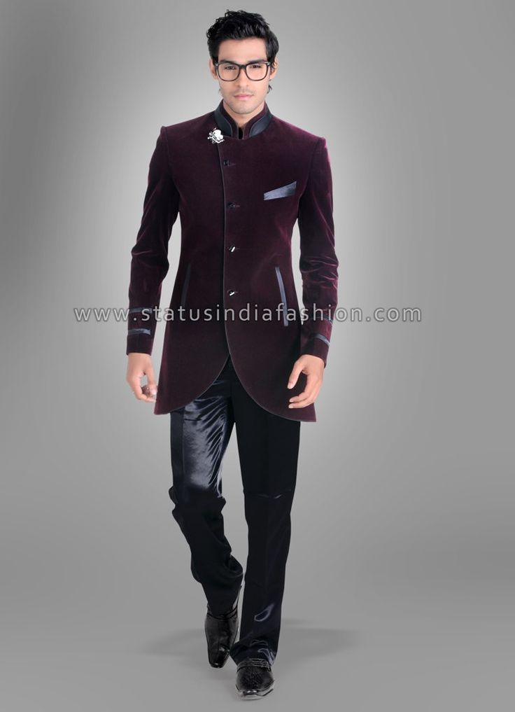 Men New Stylish Party Wear Groom Designer Jodhpuri Wedding Suit Velvet Maroon Badhgala Www