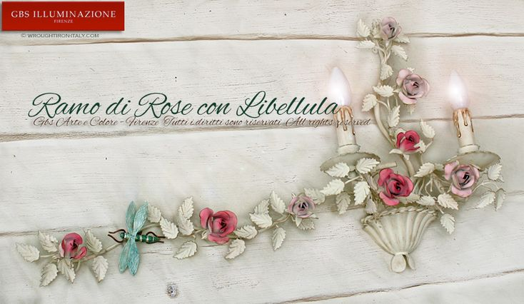 Applique Ramo di Rose con Libellula | GBS Illuminazione – Ferro Battuto – Wrought Iron