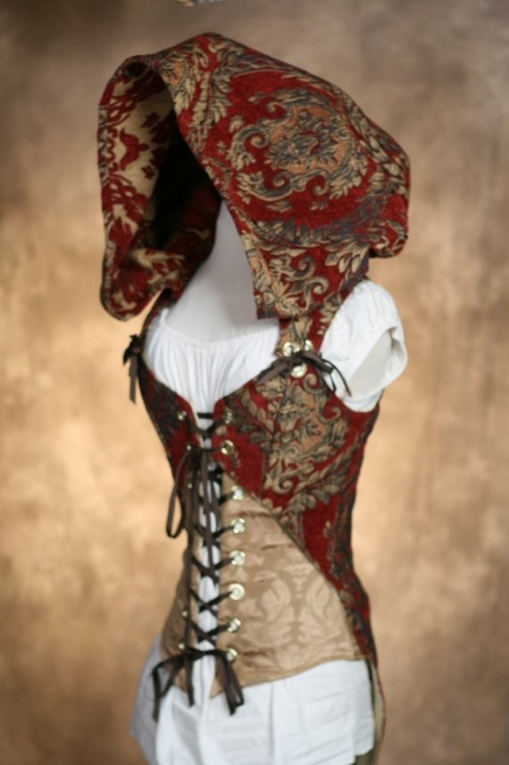 Red And Gold Hooded Corset Red Damsel In This Dress