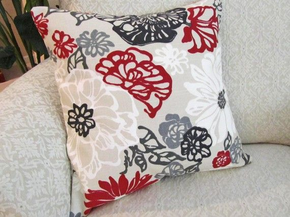 throw pillow cover decorative red black gray taupe 16 x 16 invigorate lacquer - Red Decorative Pillows