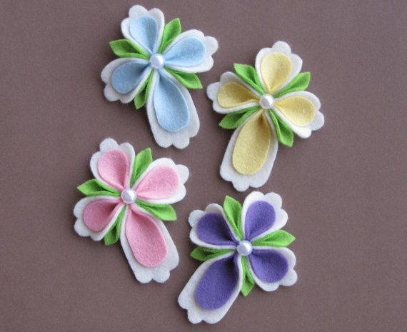 4pc. Felt Easter, Religious, Christian Cross Hair Clip Or Pin/Brooch Set.Order This Set or Choose Colors and Amounts.