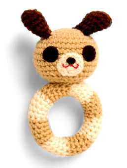 Crochet rattles - Hand crochet.  100% acrylic, polyester filling.  Top to bottom 5 inches long.    Made in New York by Leifang