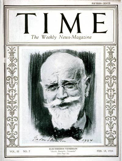 "Eleftherios Venizelos on the cover of TIME. He was a a charismatic leader in the early 20th century. Elected several times as Prime Minister of Greece, serving from 1910 to 1920 and from 1928 to 1932, Venizelos had such profound influence on the internal and external affairs of Greece that he is credited with being ""the maker of modern Greece"", and is still widely known as the ""Ethnarch""."