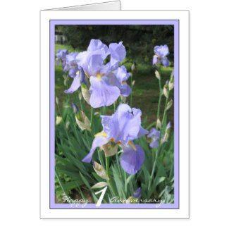 Happy First Wedding Anniversary w/ Blue Irises (3) Card