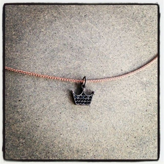 Necklace from Chain pink gold plated with a Crown as our company logo Crystal Queen with spinel stones Price: 28€