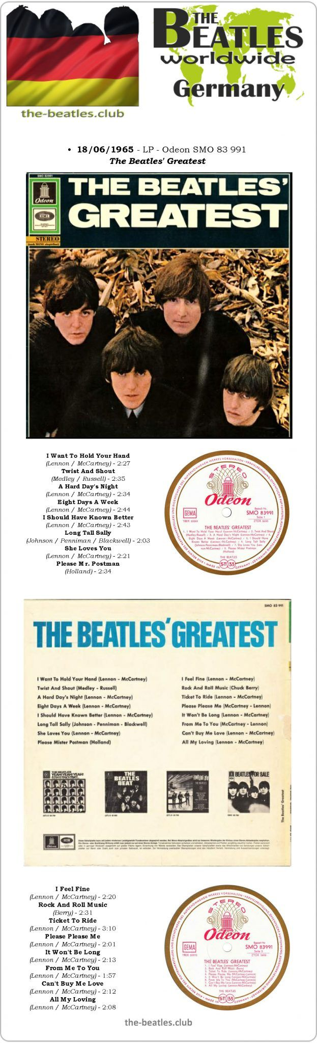 The Beatles Germany LP Odeon SMO 83 991 The Beatles' Greatest Vinyl Record Long Play Discography
