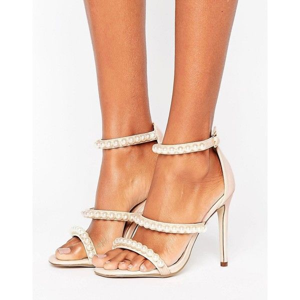 Missguided Pearl Strap Barley There Heeled Sandal (€43) ❤ liked on Polyvore featuring shoes, sandals, beige, beige sandals, high heeled footwear, ankle tie sandals, embellished sandals and beige high heel sandals