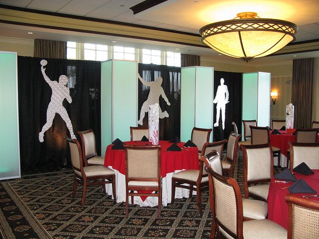 Life size sports figures for a sports theme Bar Mitzvah, via Flickr.