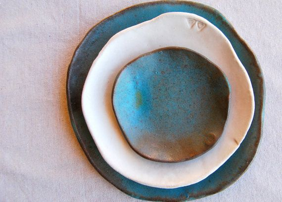 Handmade ceramic plates,  Wedding gifts, Set of 3  Organic shaped Handmade Tableware dinner plates Dinnerware set. $80.00, via Etsy.