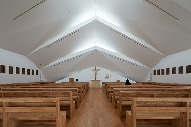 alphaville completes catholic church in suzuka with jagged roofline
