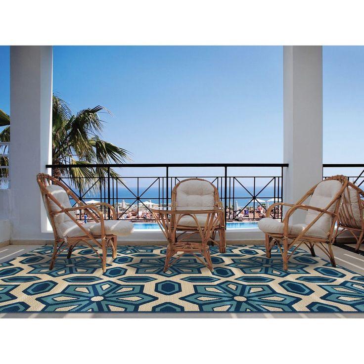 StyleHaven Tiles Ivory/Blue Indoor Outdoor Area Rug (7u002710x10u002710) By Style  Haven