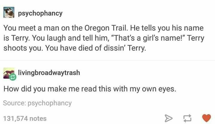 """Is this """"Dysentery World"""" from the Team Starkid production The Trail to Oregon"""