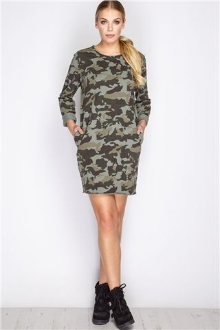 Dania Khaki Camouflage Jumper Dress at misspap.co.uk