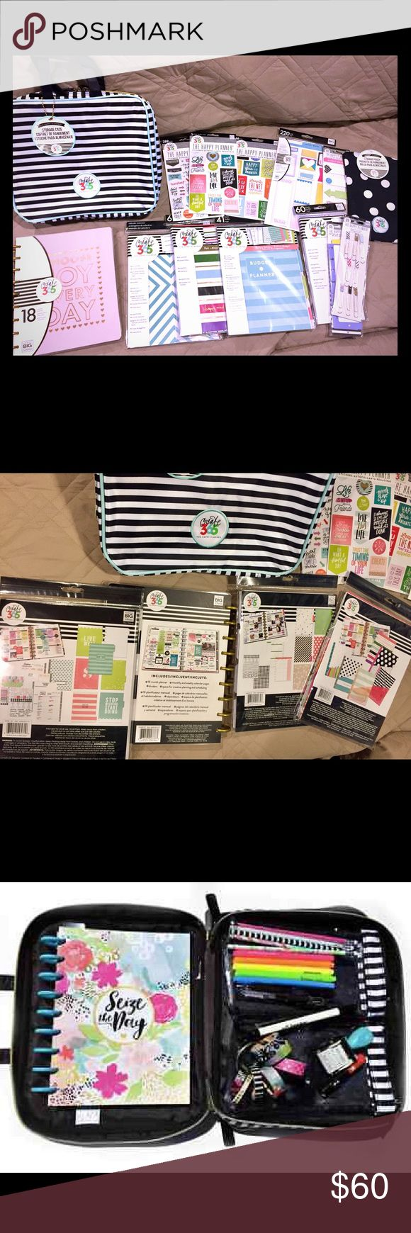 The Happy Planner huge bundle! Listing is for everything pictured! Brand new 18 month Planner, storage case, folders, stickers, magnets, sticky notes, budget extension pack and more! This bundle value is over $150! Accessories