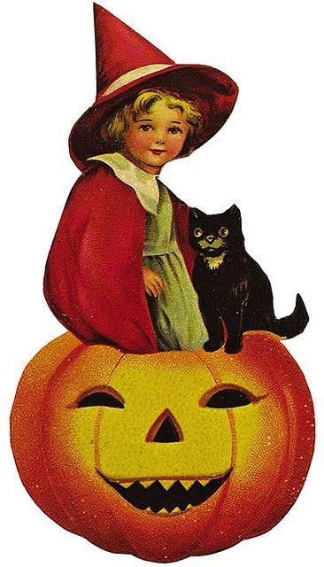 Vintage Halloween Witch, Pumpkin & Black Cat