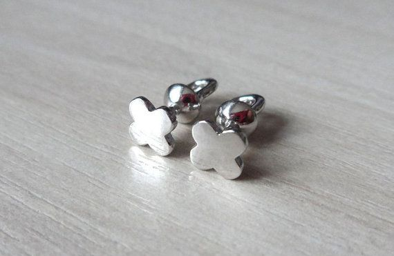 Silver Stud Earrings Studs Lucky Clover Quadrifoil for Everyday No Stone  Backing: Screw back  Metal type: Solid 925 Sterling Silver  Plating: Rhodium For Anti-Tarnish Hallmark/Metal Stamp: 925 State Inspectorate of Assay Supervision  Handmade  Weight: 1,16gr