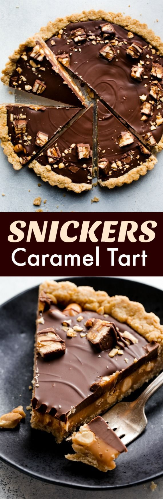Snickers caramel tart recipe with peanut butter, milk chocolate, peanuts, and salted caramel for a sweet and salty dessert! Recipe on http://sallysbakingaddiction.com