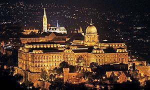 Buda Castle with Matthias Church (Ariel,night).jpgBuda Castle (Hungarian: Budavári Palota, German: Burgpalast, Turkish: Budin Kalesi or Kızılhisar) is the historical castle and palace complex of the Hungarian kings in Budapest, and was first completed in 1265. In the past, it has been called Royal Palace (Hungarian: Királyi-palota) and Royal Castle (Hungarian: Királyi Vár, German: Königliche Burg).