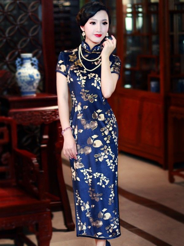 Blue Floral Tea-Length Qipao / Cheongsam Dress in Velour