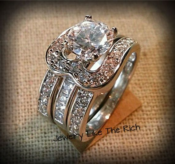 14k White Gold Sterling Silver Round Cut Diamond Engagement Ring Wedding Set 7