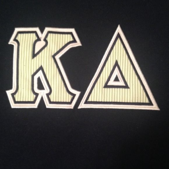 Short sleeve kappa delta shirt Seersucker letters on navy blue short sleeve shirt Tops