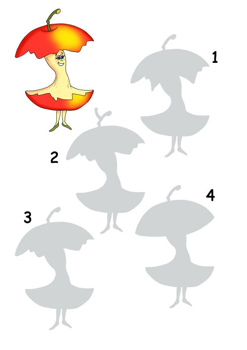 Use this free printable worksheet to get your child thinking logically and critically! For this activity children need to determine which silhouette matches the coloured image. Encourage your child to communicate by having them tell you why the others are different.   Read more at http://kidspressmagazine.com/kids-activities/activities/brain-games/find-the-match-apple-core.html#xvw4G2sR1vMqhSC1.99  #brain games, #matching, #logic, #free printable