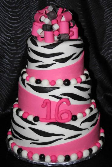 Pink and black zebra print cake.(With some Lime green as well) for Katy's 13th birthday party!