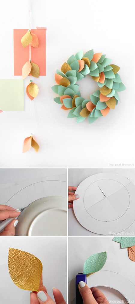 Good as can be hung with just blutac.  Could try using old newspaper with accent leaves in pretty solid colours?  very easy DIY wreath tutorial from The Red Thread