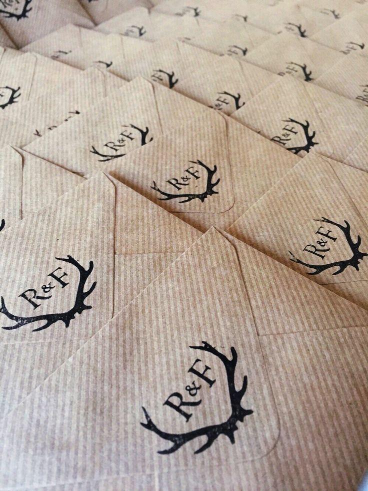Antler monogram Rustic woodland deer wedding stationery rubber or self inking stamp at brittlauren.com