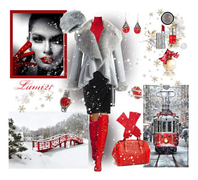 snow in the city by lumi-21 on Polyvore featuring Uniqlo, Chicwish, Alexander Wang, Kate Spade, Del Gatto, AeraVida, Dents, By Terry, GAB and Lalique