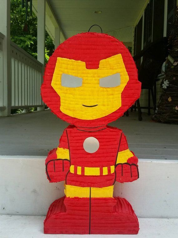 Super hero birthday party super hero pinata iron man by LaAranita