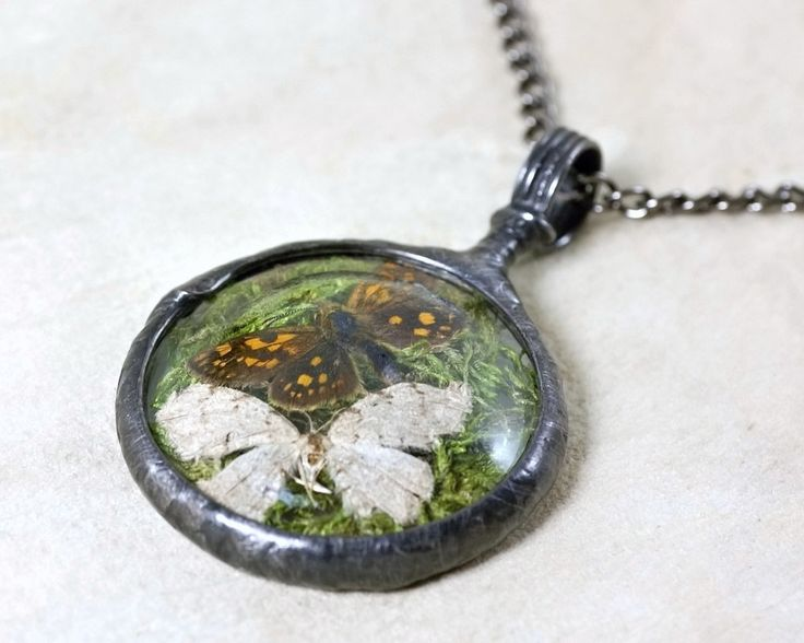 moths & moss necklace, night butterfly, real insect, terrarium necklace, handmade by pentaxPL on Etsy