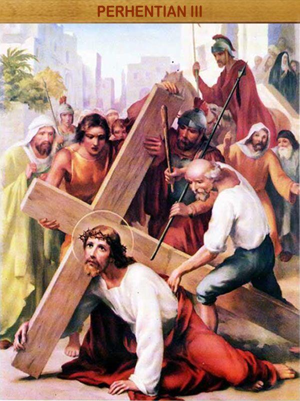 """YESUS JATUH PERTAMA KALINYA : """"Dia ditikam oleh karena pemberontakan kita, Dia diremukkan karena kesalahan kita, hukuman yang mendatangkan keselamatan kita ditimpakan kepada-Nya"""" (Yes 53:5)."""