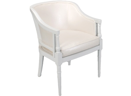 Catalina Chair Hollywood Regency Style With White Wood Arms And Legs Faux Ostrich